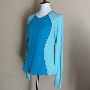 Nike Running Dri Fit Sz M long sleeves Top Blue